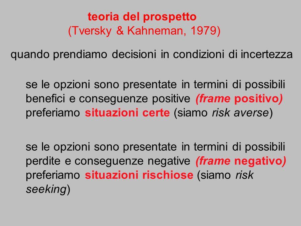 quando prendiamo decisioni in condizioni di incertezza teoria del prospetto (Tversky & Kahneman, 1979) se le opzioni sono presentate in termini di pos
