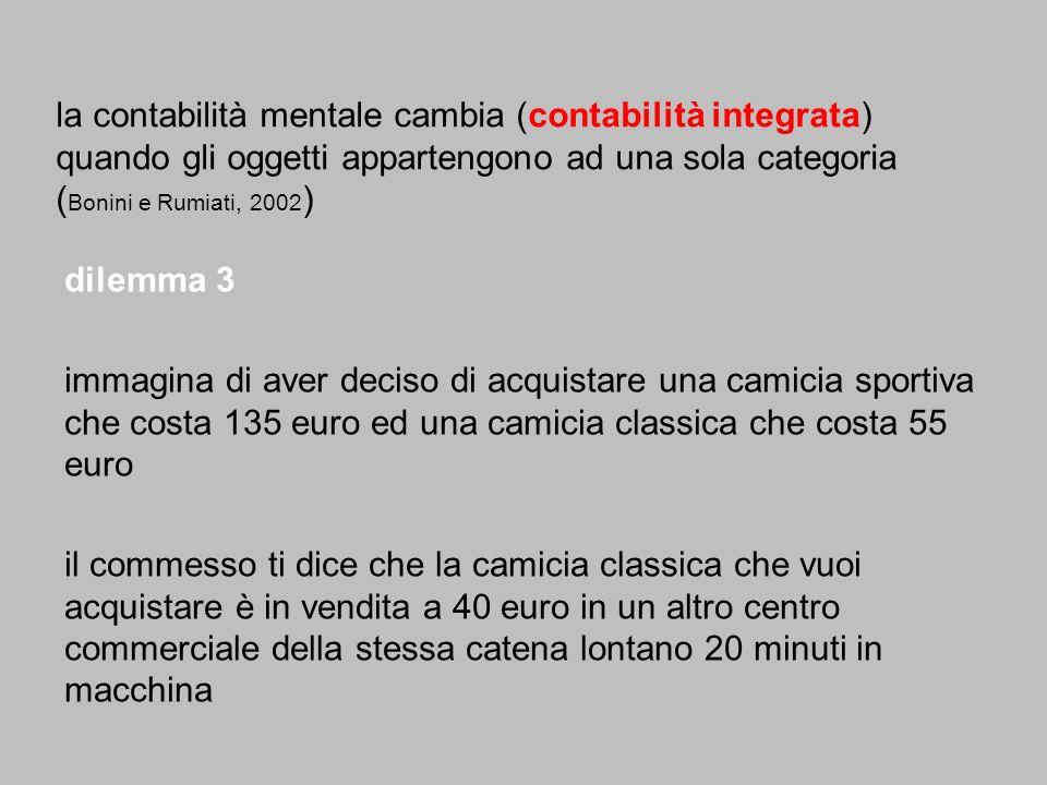 la contabilità mentale cambia (contabilità integrata) quando gli oggetti appartengono ad una sola categoria ( Bonini e Rumiati, 2002 ) dilemma 3 immag
