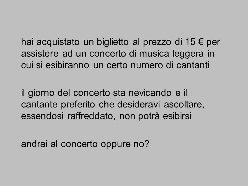 hai acquistato un biglietto al prezzo di 15 per assistere ad un concerto di musica leggera in cui si esibiranno un certo numero di cantanti il giorno