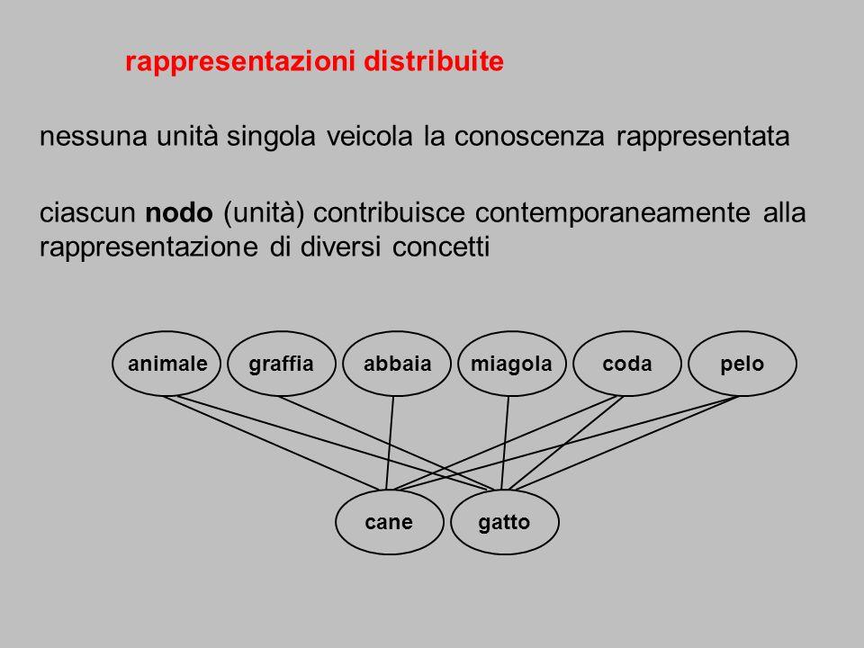 rappresentazioni distribuite nessuna unità singola veicola la conoscenza rappresentata ciascun nodo (unità) contribuisce contemporaneamente alla rappr