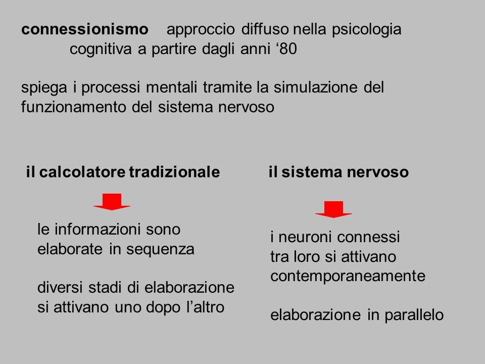 connessionismoapproccio diffuso nella psicologia cognitiva a partire dagli anni 80 spiega i processi mentali tramite la simulazione del funzionamento