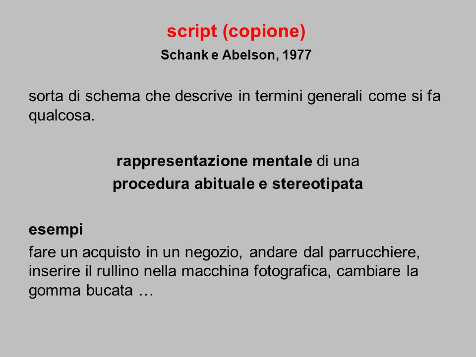 script (copione) Schank e Abelson, 1977 sorta di schema che descrive in termini generali come si fa qualcosa. rappresentazione mentale di una procedur