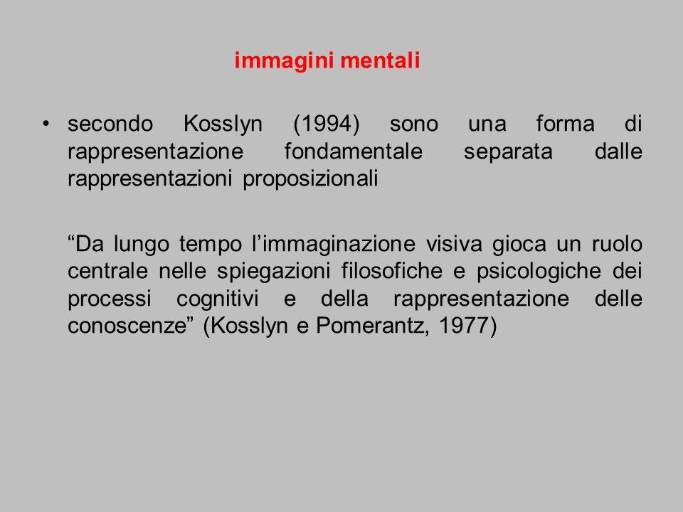 secondo Kosslyn (1994) sono una forma di rappresentazione fondamentale separata dalle rappresentazioni proposizionali Da lungo tempo limmaginazione vi