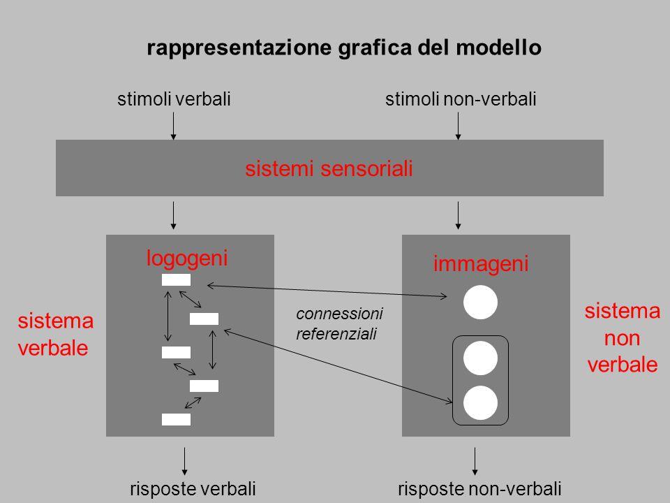 sistema verbale sistema non verbale connessioni referenziali risposte verbali logogeni stimoli verbalistimoli non-verbali sistemi sensoriali immageni