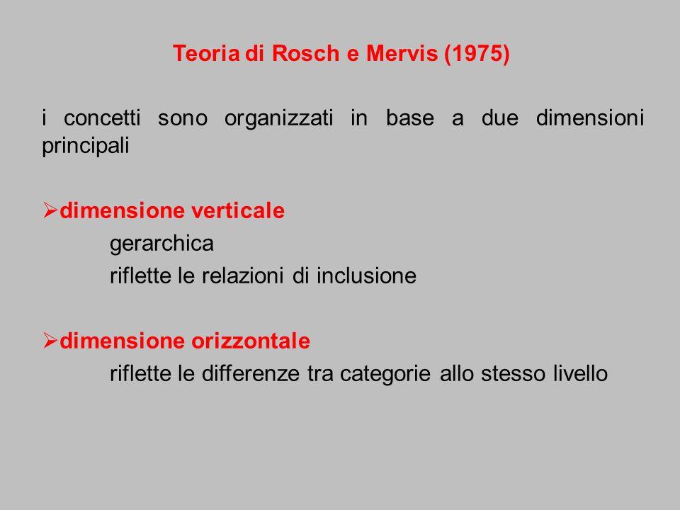 i concetti sono organizzati in base a due dimensioni principali dimensione verticale gerarchica riflette le relazioni di inclusione dimensione orizzon