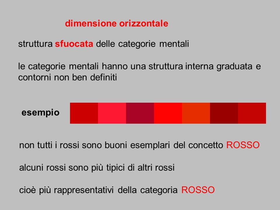 struttura sfuocata delle categorie mentali le categorie mentali hanno una struttura interna graduata e contorni non ben definiti dimensione orizzontal