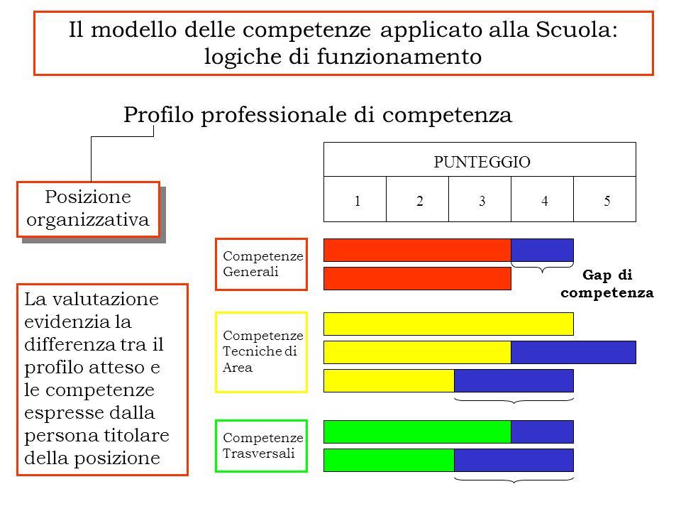 Il modello delle competenze applicato alla Scuola: logiche di funzionamento Profilo professionale di competenza La valutazione evidenzia la differenza