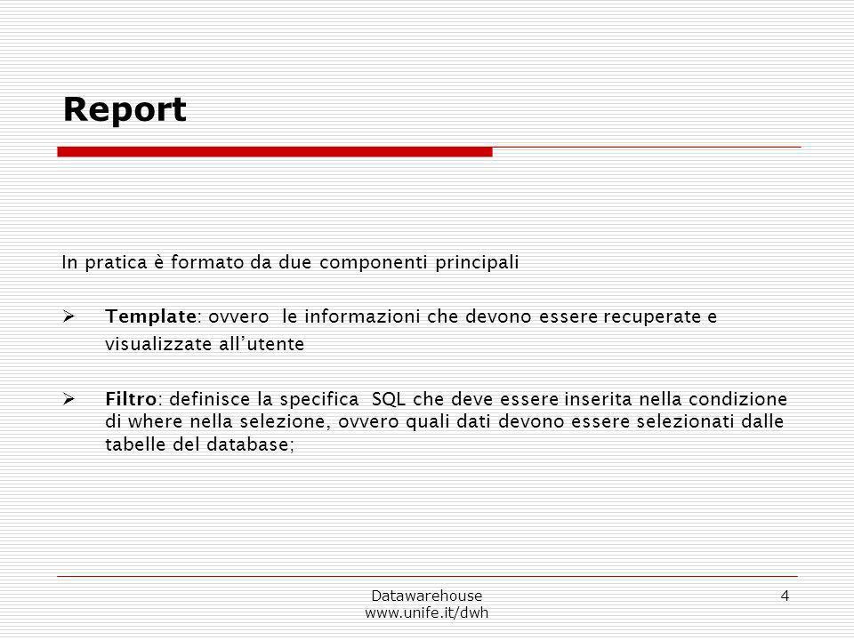 Datawarehouse www.unife.it/dwh 4 In pratica è formato da due componenti principali Template: ovvero le informazioni che devono essere recuperate e vis