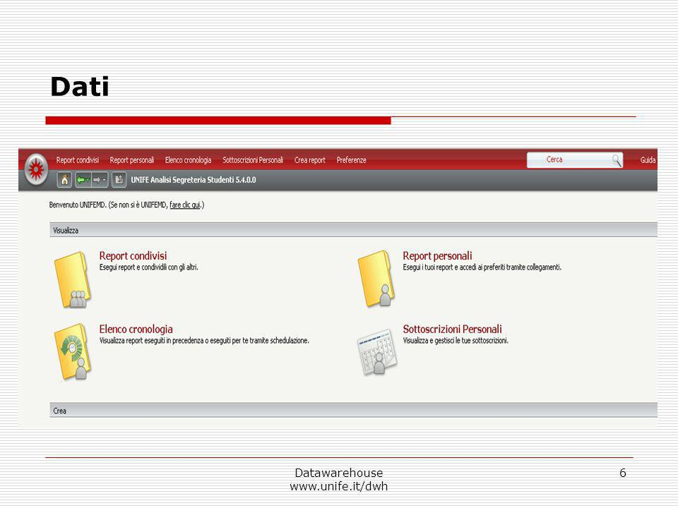 Datawarehouse www.unife.it/dwh 7 Report Attributo Metrica