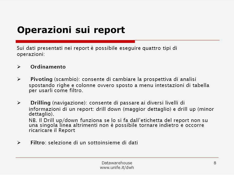 Datawarehouse www.unife.it/dwh 8 Operazioni sui report Sui dati presentati nei report è possibile eseguire quattro tipi di operazioni: Ordinamento Piv