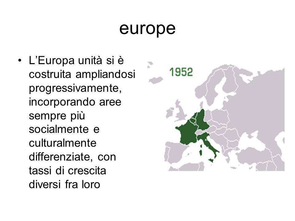 europe LEuropa unità si è costruita ampliandosi progressivamente, incorporando aree sempre più socialmente e culturalmente differenziate, con tassi di