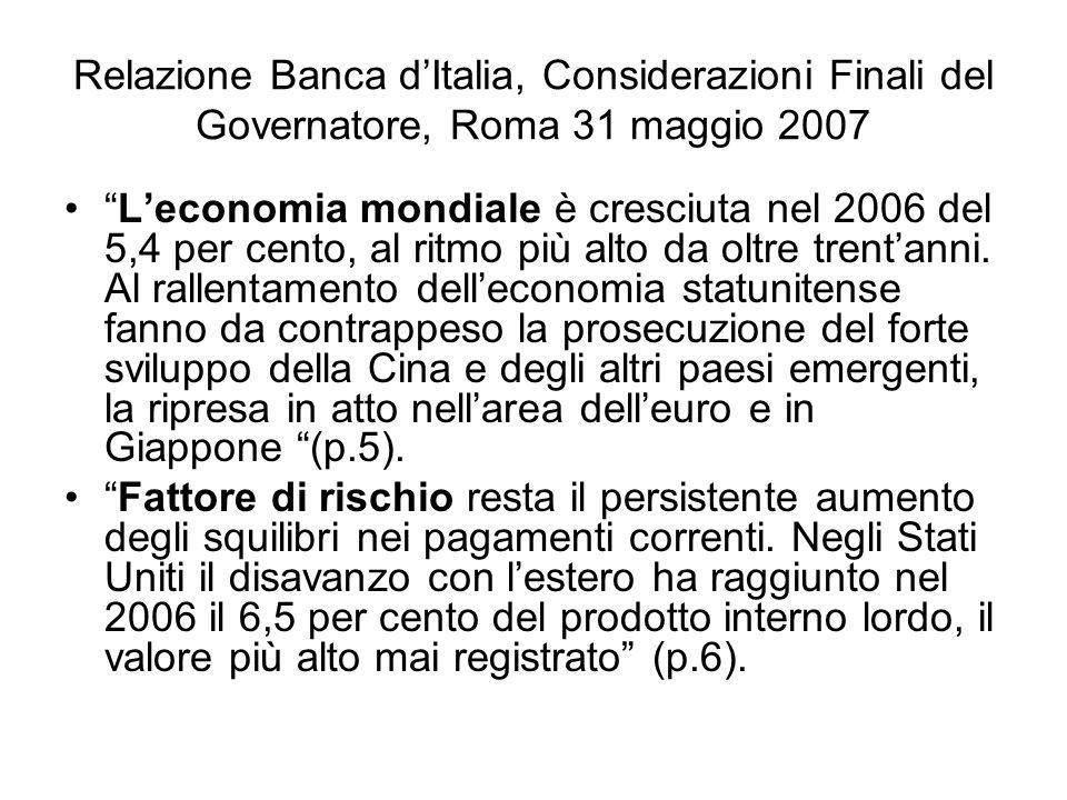 Relazione Banca dItalia, Considerazioni Finali del Governatore, Roma 31 maggio 2007 Leconomia mondiale è cresciuta nel 2006 del 5,4 per cento, al ritm