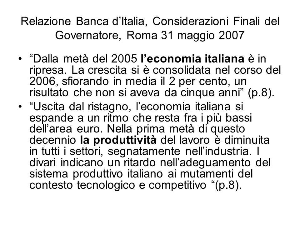 Relazione Banca dItalia, Considerazioni Finali del Governatore, Roma 31 maggio 2007 Dalla metà del 2005 leconomia italiana è in ripresa. La crescita s