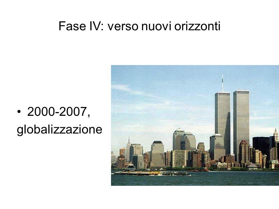 Fase IV: verso nuovi orizzonti 2000-2007, globalizzazione