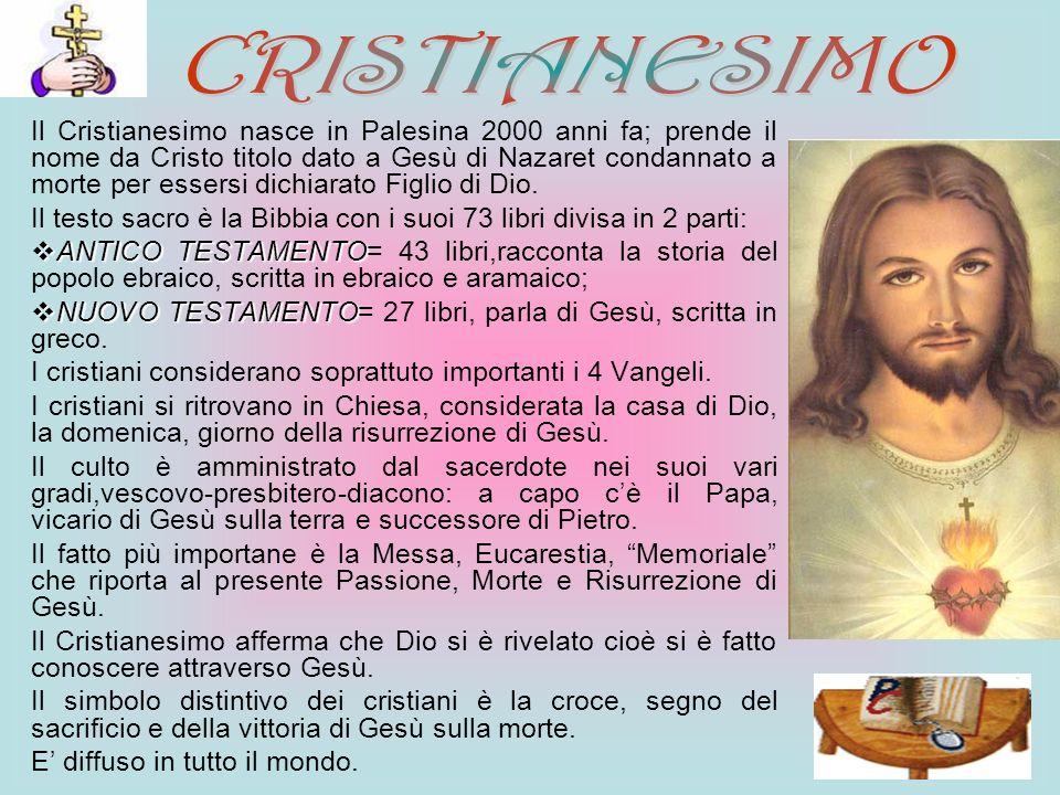Il Cristianesimo nasce in Palesina 2000 anni fa; prende il nome da Cristo titolo dato a Gesù di Nazaret condannato a morte per essersi dichiarato Figl