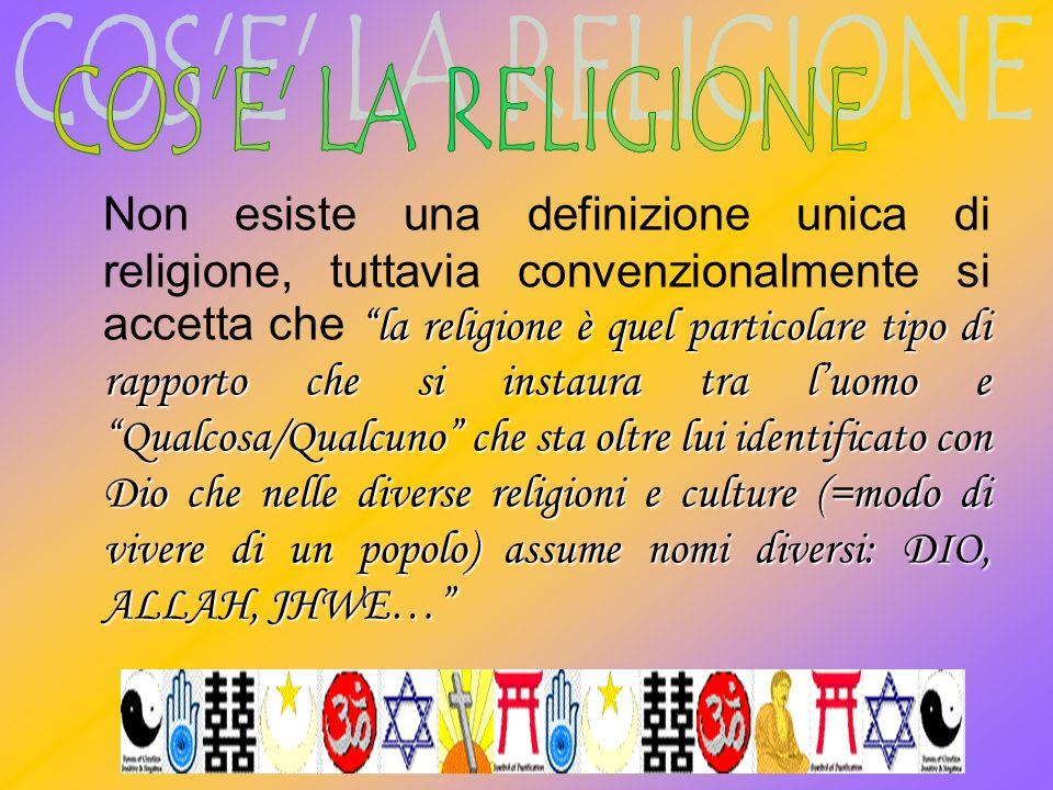 la religione è quel particolare tipo di rapporto che si instaura tra luomo e Qualcosa/Qualcuno che sta oltre lui identificato con Dio che nelle divers