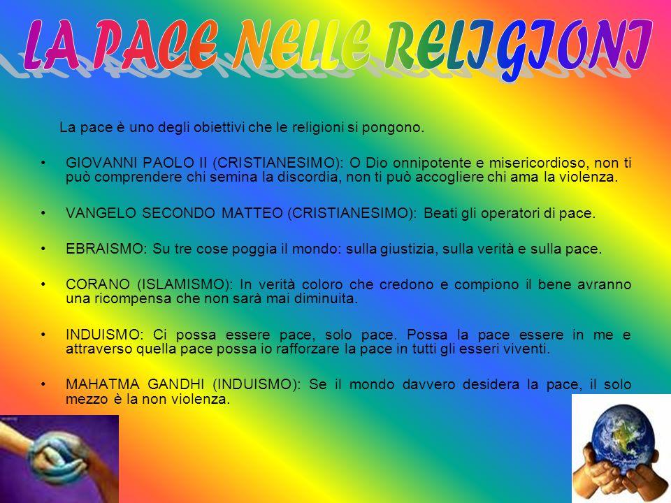 La pace è uno degli obiettivi che le religioni si pongono. GIOVANNI PAOLO II (CRISTIANESIMO): O Dio onnipotente e misericordioso, non ti può comprende