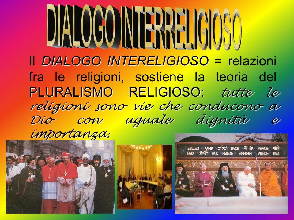 DIALOGO INTERELIGIOSO PLURALISMO RELIGIOSO: tutte le religioni sono vie che conducono a Dio con uguale dignità e importanza. Il DIALOGO INTERELIGIOSO