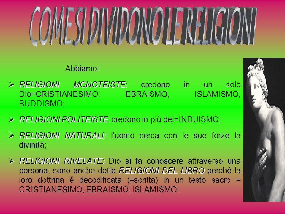 Abbiamo: RELIGIONI MONOTEISTE: RELIGIONI MONOTEISTE: credono in un solo Dio=CRISTIANESIMO, EBRAISMO, ISLAMISMO, BUDDISMO; RELIGIONI POLITEISTE: RELIGI