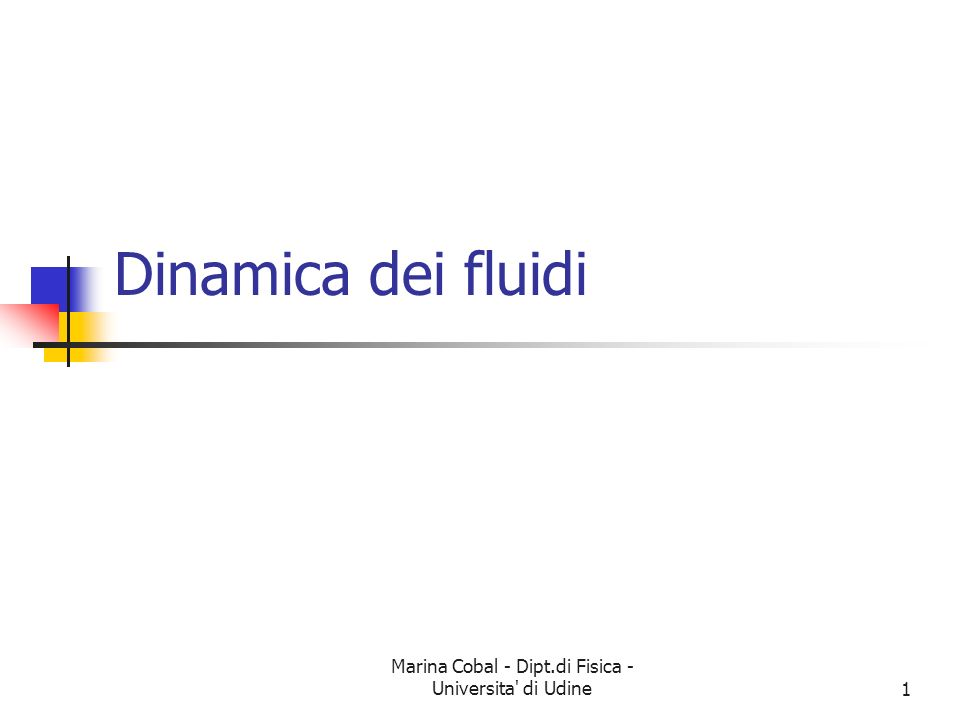 Marina Cobal - Dipt.di Fisica - Universita di Udine21 Equazione di Bernoulli Considerate un elemento di massa m = V che passa attraverso un tubo.