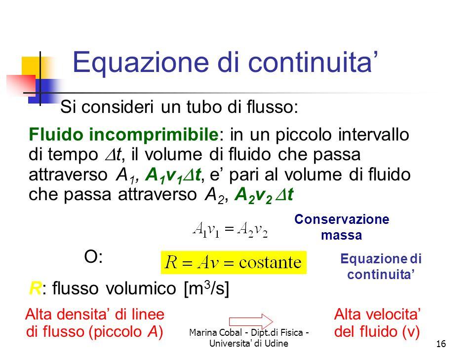 Marina Cobal - Dipt.di Fisica - Universita' di Udine15 Equazione di continuita - 1 MOTO STAZIONARIO Q = costante nel tempo in ogni sezione senza SORGE