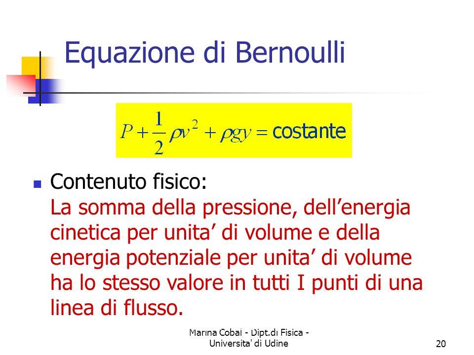 Marina Cobal - Dipt.di Fisica - Universita' di Udine19 Velocita del sangue - 2 Portata del sangue: Q= 5 l/min = (5000 cm 3 )/(60 s) = 83.33 cm 3 /s Es