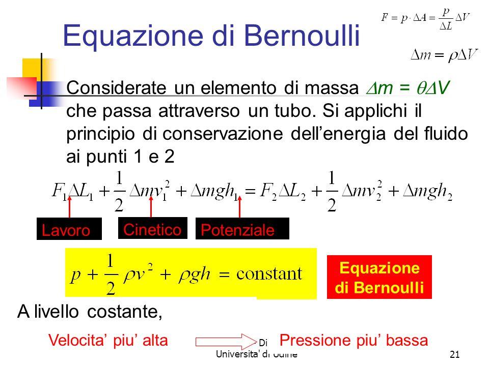 Marina Cobal - Dipt.di Fisica - Universita' di Udine20 Equazione di Bernoulli Contenuto fisico: La somma della pressione, dellenergia cinetica per uni