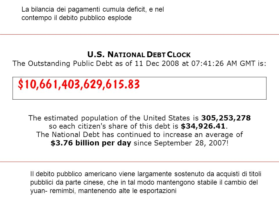 U.S. N ATIONAL D EBT C LOCK The Outstanding Public Debt as of 11 Dec 2008 at 07:41:26 AM GMT is: The estimated population of the United States is 305,
