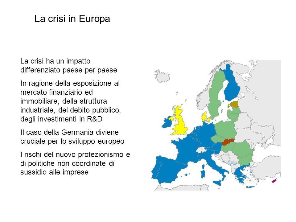 La crisi ha un impatto differenziato paese per paese In ragione della esposizione al mercato finanziario ed immobiliare, della struttura industriale,