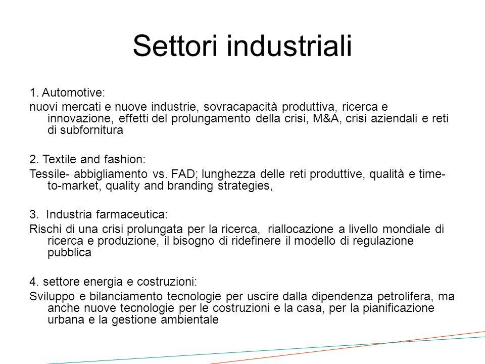 Settori industriali 1. Automotive: nuovi mercati e nuove industrie, sovracapacità produttiva, ricerca e innovazione, effetti del prolungamento della c