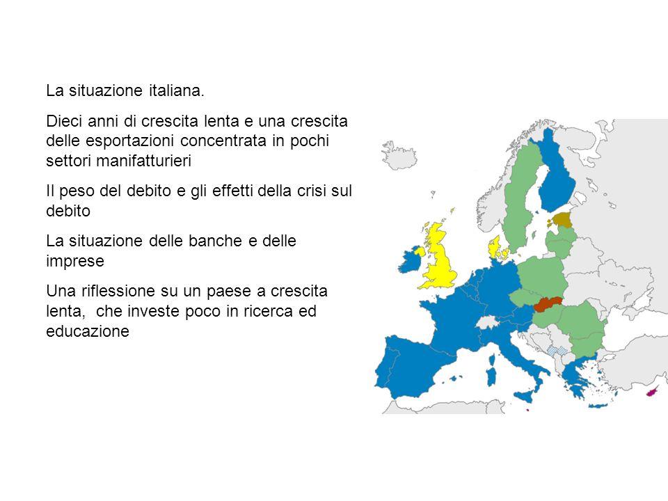 La situazione italiana. Dieci anni di crescita lenta e una crescita delle esportazioni concentrata in pochi settori manifatturieri Il peso del debito