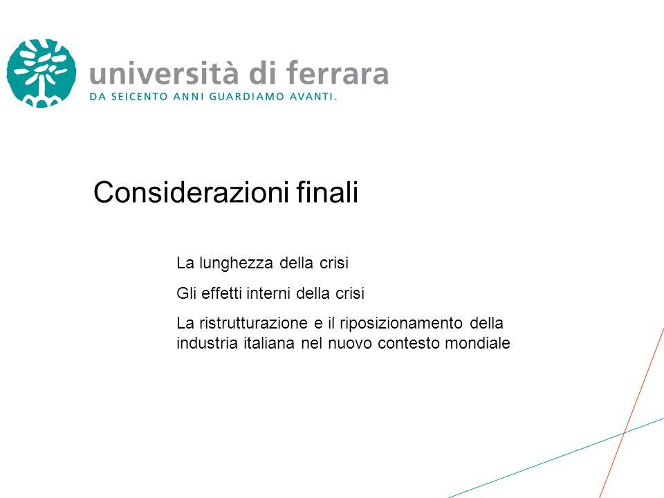 Considerazioni finali La lunghezza della crisi Gli effetti interni della crisi La ristrutturazione e il riposizionamento della industria italiana nel