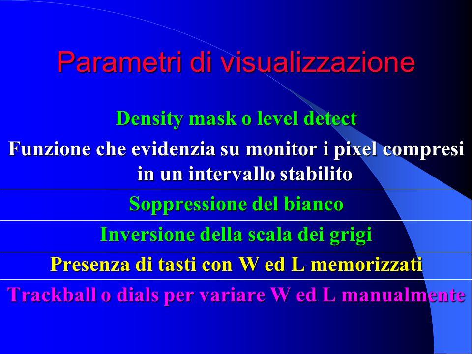 Parametri di visualizzazione Density mask o level detect Funzione che evidenzia su monitor i pixel compresi in un intervallo stabilito Soppressione de