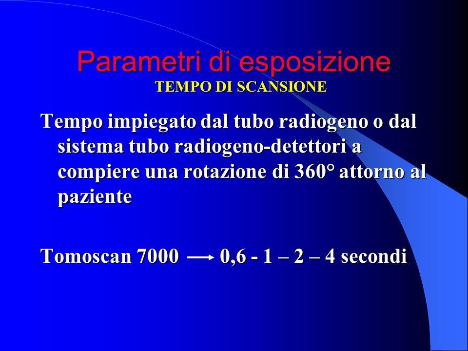 Parametri di esposizione Tempo impiegato dal tubo radiogeno o dal sistema tubo radiogeno-detettori a compiere una rotazione di 360° attorno al pazient