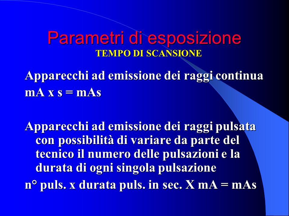 Apparecchi ad emissione dei raggi continua mA x s = mAs Apparecchi ad emissione dei raggi pulsata con possibilità di variare da parte del tecnico il n