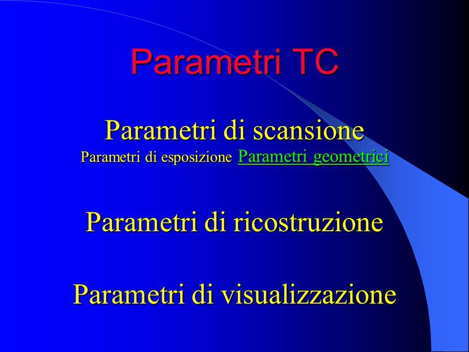 Parametri TC Parametri di scansione Parametri di esposizione Parametri geometrici Parametri di ricostruzione Parametri di visualizzazione