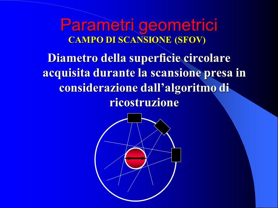 Parametri geometrici Diametro della superficie circolare acquisita durante la scansione presa in considerazione dallalgoritmo di ricostruzione CAMPO D