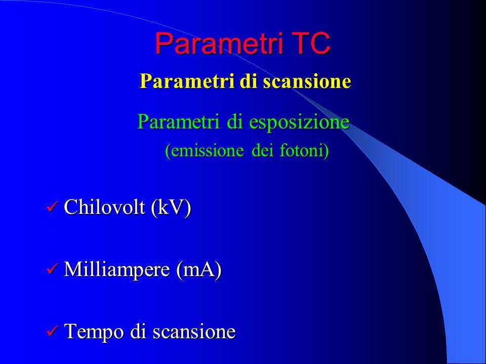 Parametri TC Parametri di esposizione Parametri di esposizione (emissione dei fotoni) Chilovolt (kV) Chilovolt (kV) Milliampere (mA) Milliampere (mA)