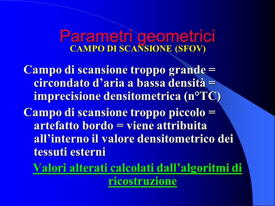 Parametri geometrici Campo di scansione troppo grande = circondato daria a bassa densità = imprecisione densitometrica (n°TC) Campo di scansione tropp