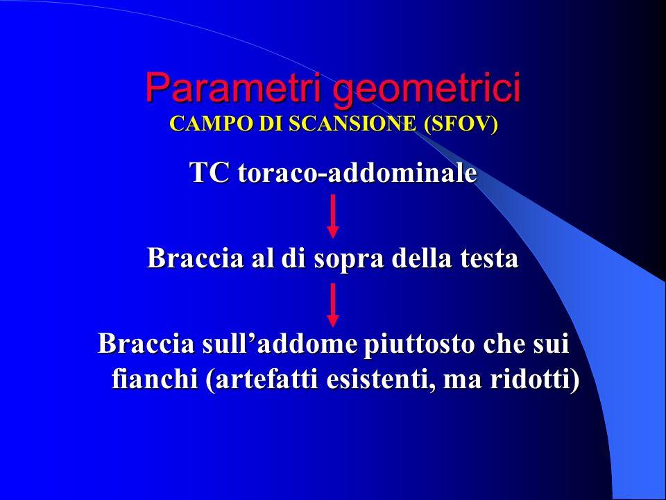 Parametri geometrici TC toraco-addominale Braccia al di sopra della testa Braccia sulladdome piuttosto che sui fianchi (artefatti esistenti, ma ridott