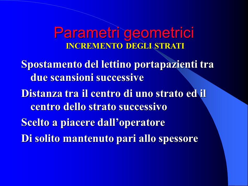 Parametri geometrici Spostamento del lettino portapazienti tra due scansioni successive Distanza tra il centro di uno strato ed il centro dello strato