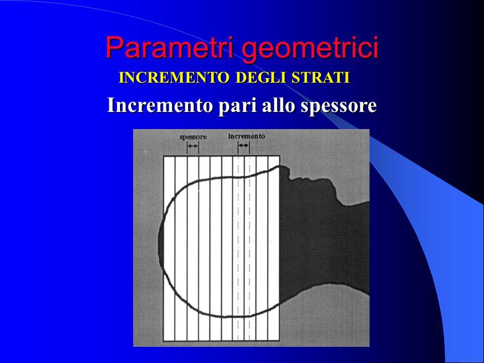 Parametri geometrici INCREMENTO DEGLI STRATI Incremento pari allo spessore