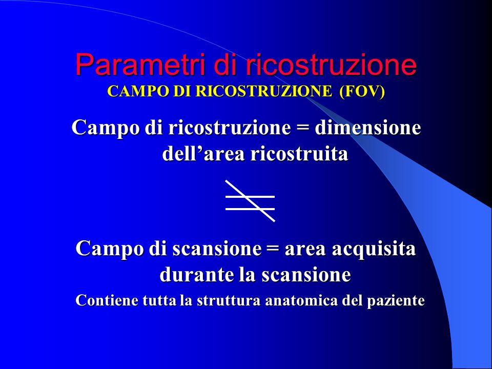 Parametri di ricostruzione Campo di ricostruzione = dimensione dellarea ricostruita Campo di scansione = area acquisita durante la scansione CAMPO DI