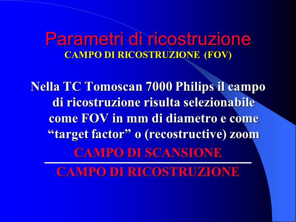 Parametri di ricostruzione Nella TC Tomoscan 7000 Philips il campo di ricostruzione risulta selezionabile come FOV in mm di diametro e come target fac