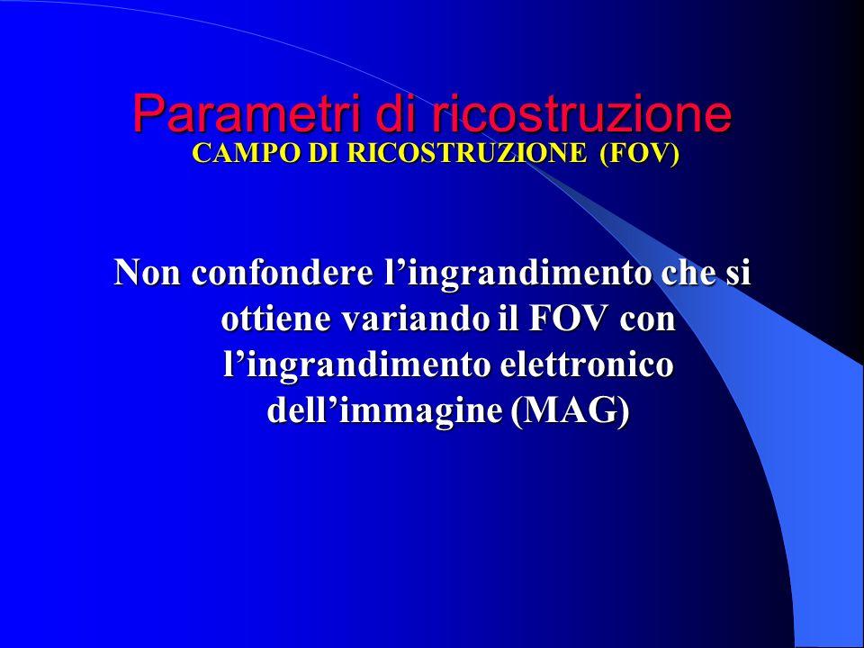 Parametri di ricostruzione Non confondere lingrandimento che si ottiene variando il FOV con lingrandimento elettronico dellimmagine (MAG) CAMPO DI RIC