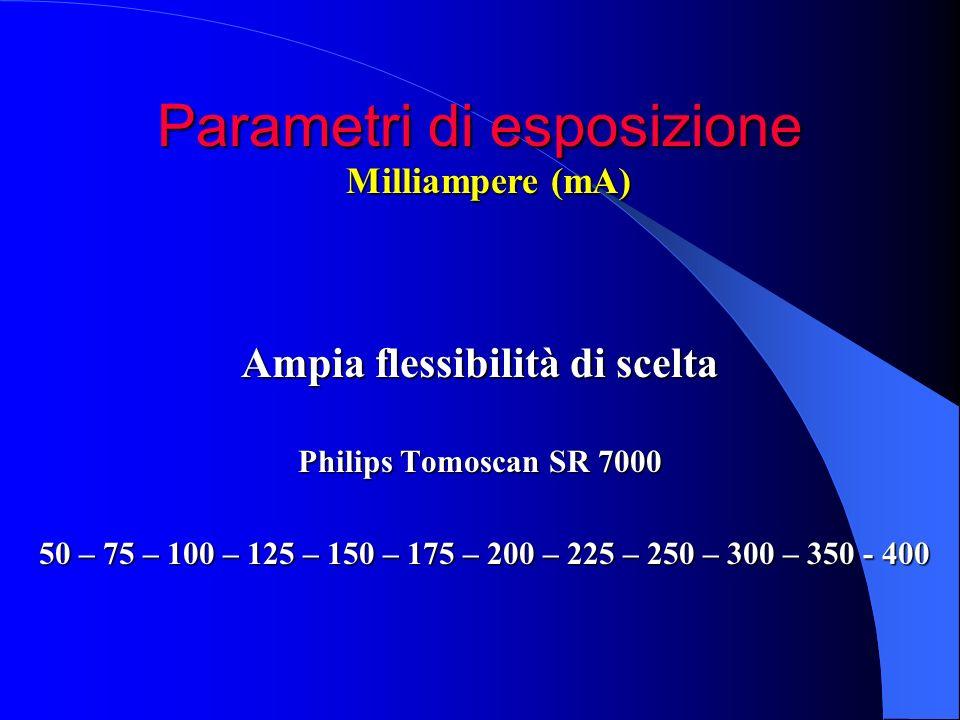 Parametri di esposizione Ampia flessibilità di scelta Philips Tomoscan SR 7000 50 – 75 – 100 – 125 – 150 – 175 – 200 – 225 – 250 – 300 – 350 - 400 50