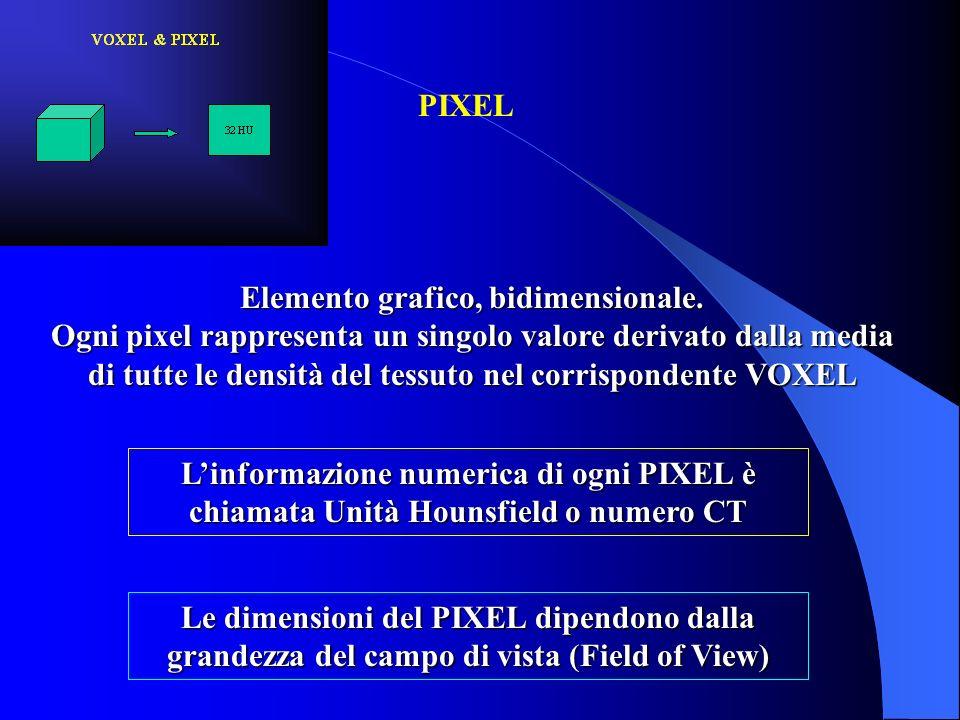 Elemento grafico, bidimensionale. Ogni pixel rappresenta un singolo valore derivato dalla media di tutte le densità del tessuto nel corrispondente VOX