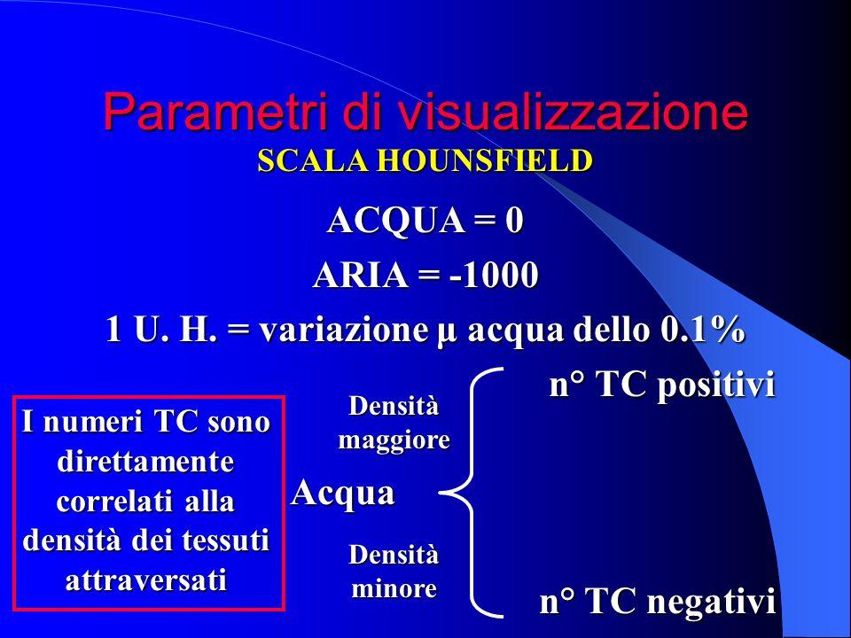 Parametri di visualizzazione ACQUA = 0 ARIA = -1000 1 U. H. = variazione μ acqua dello 0.1% n° TC positivi n° TC positivi Acqua Acqua n° TC negativi n