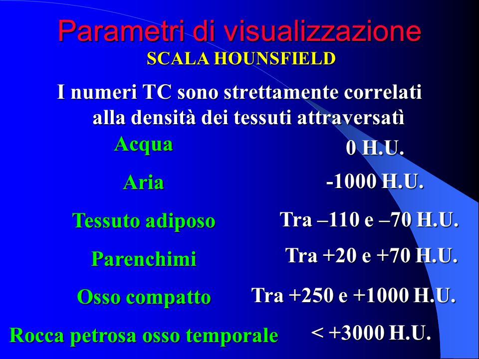 Parametri di visualizzazione I numeri TC sono strettamente correlati alla densità dei tessuti attraversatì SCALA HOUNSFIELD AcquaAria Tessuto adiposo