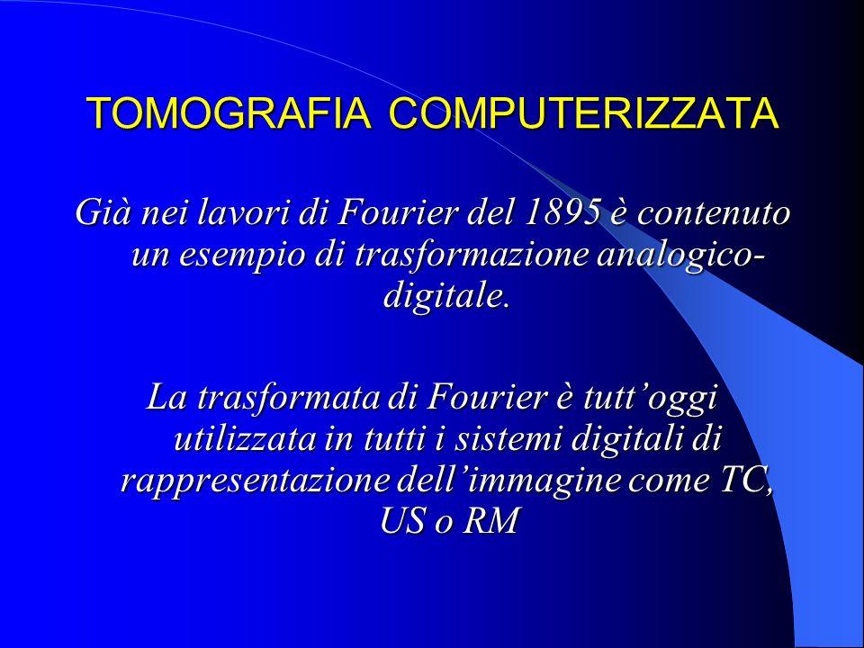 TOMOGRAFIA COMPUTERIZZATA Già nei lavori di Fourier del 1895 è contenuto un esempio di trasformazione analogico- digitale. La trasformata di Fourier è